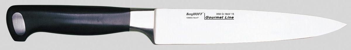 Нож для мяса BergHOFF Gourmet, длина лезвия 18 см1399553Нож BergHOFF Gourmet изготовлен из высококачественной хром-молибден-ванадиевой стали (Х50CrMovV15), устойчив к пятнам, коррозии. Благодаря эргономичной рукоятке нож исключительно удобен в использовании, а выкованный вручную выступ ножа обеспечивает идеальное равновесие. Специальный упор для пальцев предотвращает соскальзывание руки на лезвие. Идеально подходит для нарезания мяса тонкими ломтиками. Часто используется вместе со специальной вилкой, придерживающей мясо при нарезании. Рекомендуется мыть вручную. Длина ножа: 29,5 см. Длина лезвия: 18 см.