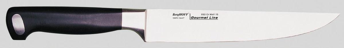 Нож для мяса BergHOFF Gourmet, цвет: металлик-черный, длина лезвия 18 см1399751Нож для мяса BergHOFF Gourmet изготовлен из высококачественной хром-молибден-ванадиевой стали (Х50CrMovV15). Эргономичная ручка с выемками для безопасного и удобного удерживания. Нож обладает бесшовной конструкцией и ручной заточкой, кованой шейкой для дополнительного веса, баланса и безопасности рук. Этот нож имеет неширокое лезвие. Один из самых нужных на кухне ножей. Таким ножом удобно сделать ровный разрез всего одним движением. Нож BergHOFF Gourmet предоставит вам все необходимые возможности в успешном приготовлении пищи и порадует вас своими результатами. Рекомендуется мыть вручную. Общая длина ножа: 32 см. Длина лезвия: 18 см.