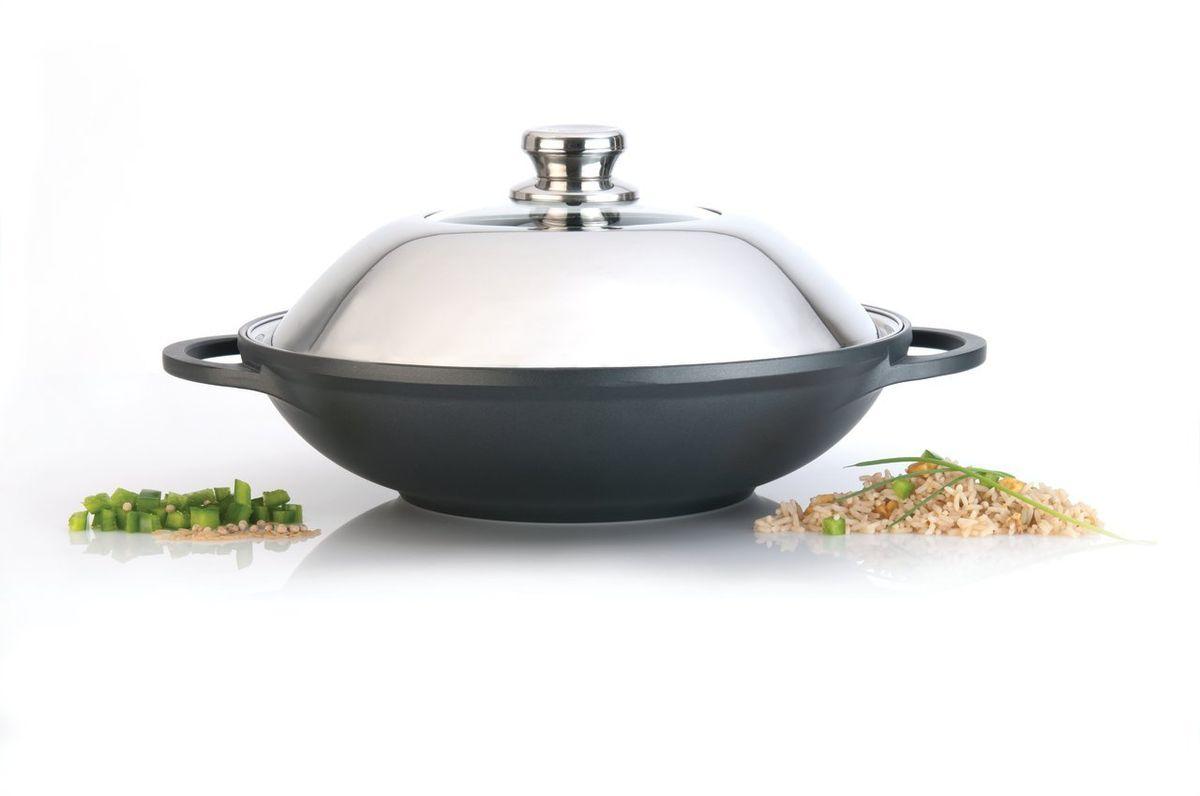 Китайский вок Scala диаметр 32 см, 5 л из литого алюминия c антипригарным покрытием , цвет: черный-металлик