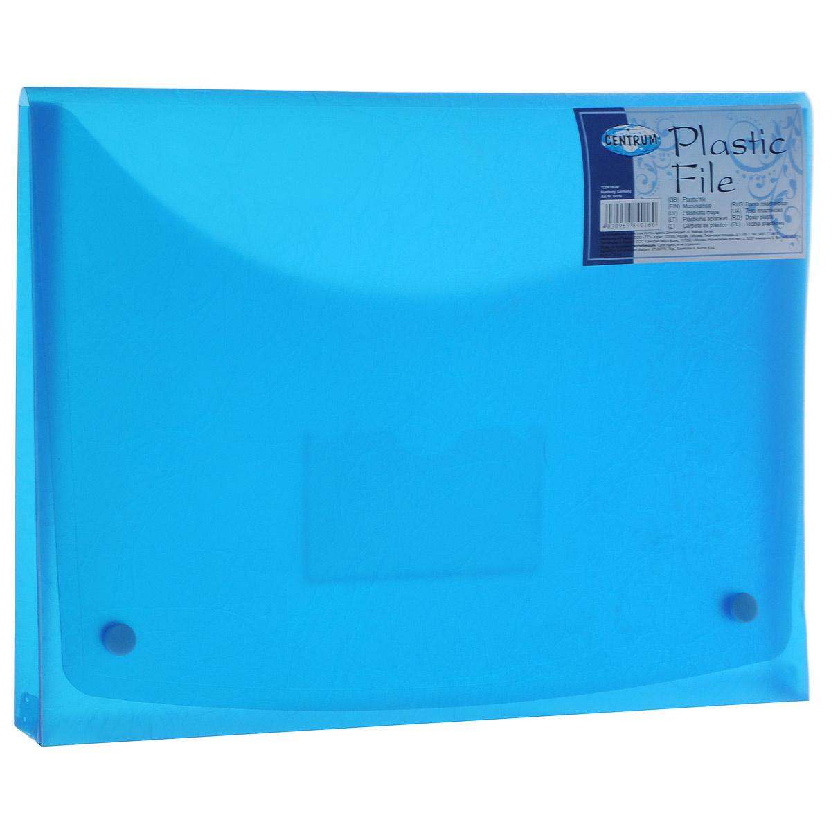 Папка-конверт на кнопках Centrum, цвет: голубой. Формат A484016 синий84016 Папка-конверт на двух кнопках А4,пластик 0,4 мм,SOFT TOUCH 84016, цвет: синий