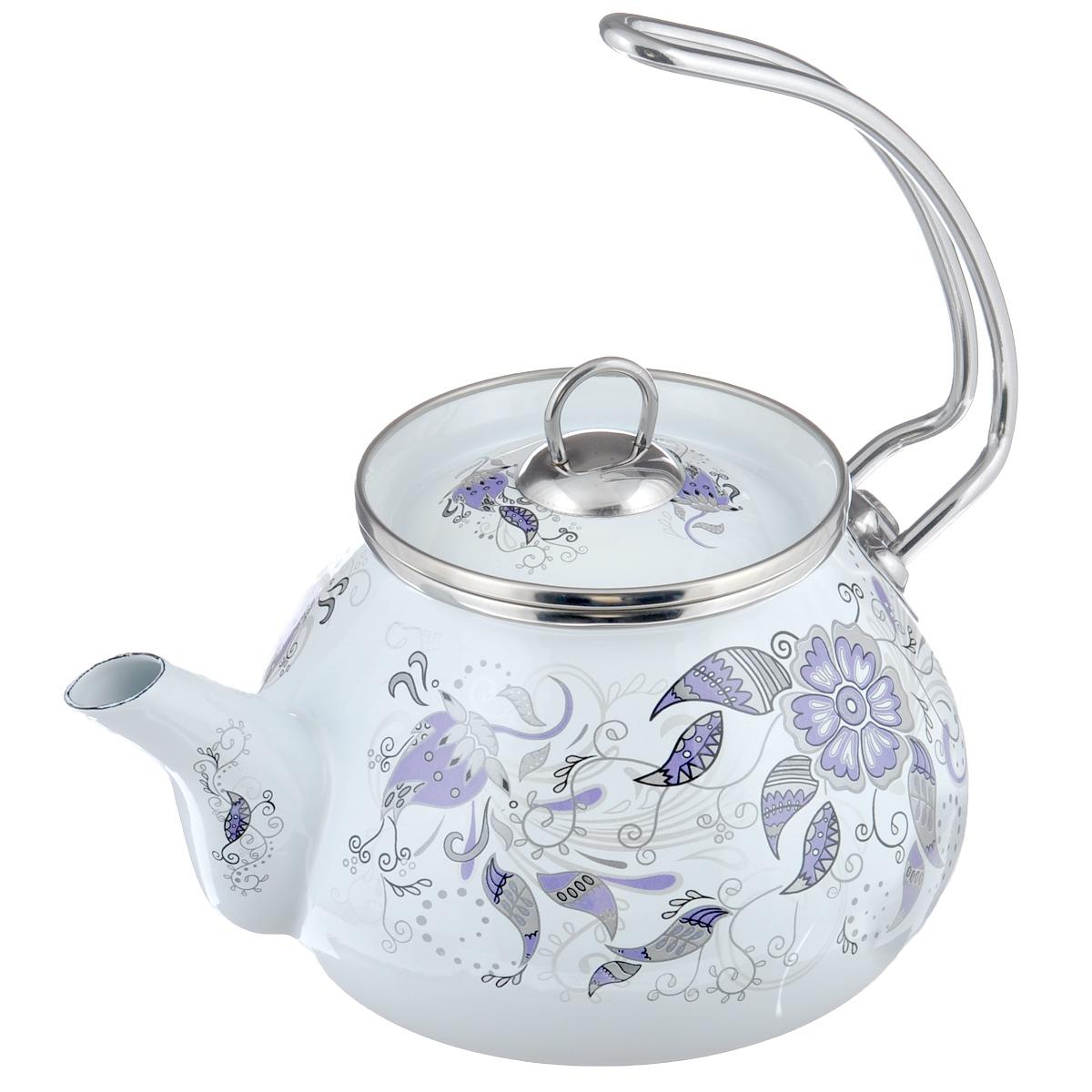 Чайник Gotoff, цвет: белый, 2,5 л20140601(1439)Чайник Gotoff изготовлен из высококачественной стали, покрытой стеклокерамической эмалью. Эмаль устойчива к пищевым кислотам, не вступает во взаимодействие с продуктами и не искажает их пищевые качества. Изделие оформлено красочным цветочным узором. Эргономическая ручка чайника выполнена их хромированной стали. Носик чайника оснащен пластиковой насадкой. Изделие пригодно для использования на всех типах плит, включая индукционные. Можно мыть в посудомоечной машине. Высота чайника (без учета ручки и крышки): 11,5 см. Высота чайника (с учетом ручки и крышки): 24 см. Диаметр (по верхнему краю): 11,5 см.