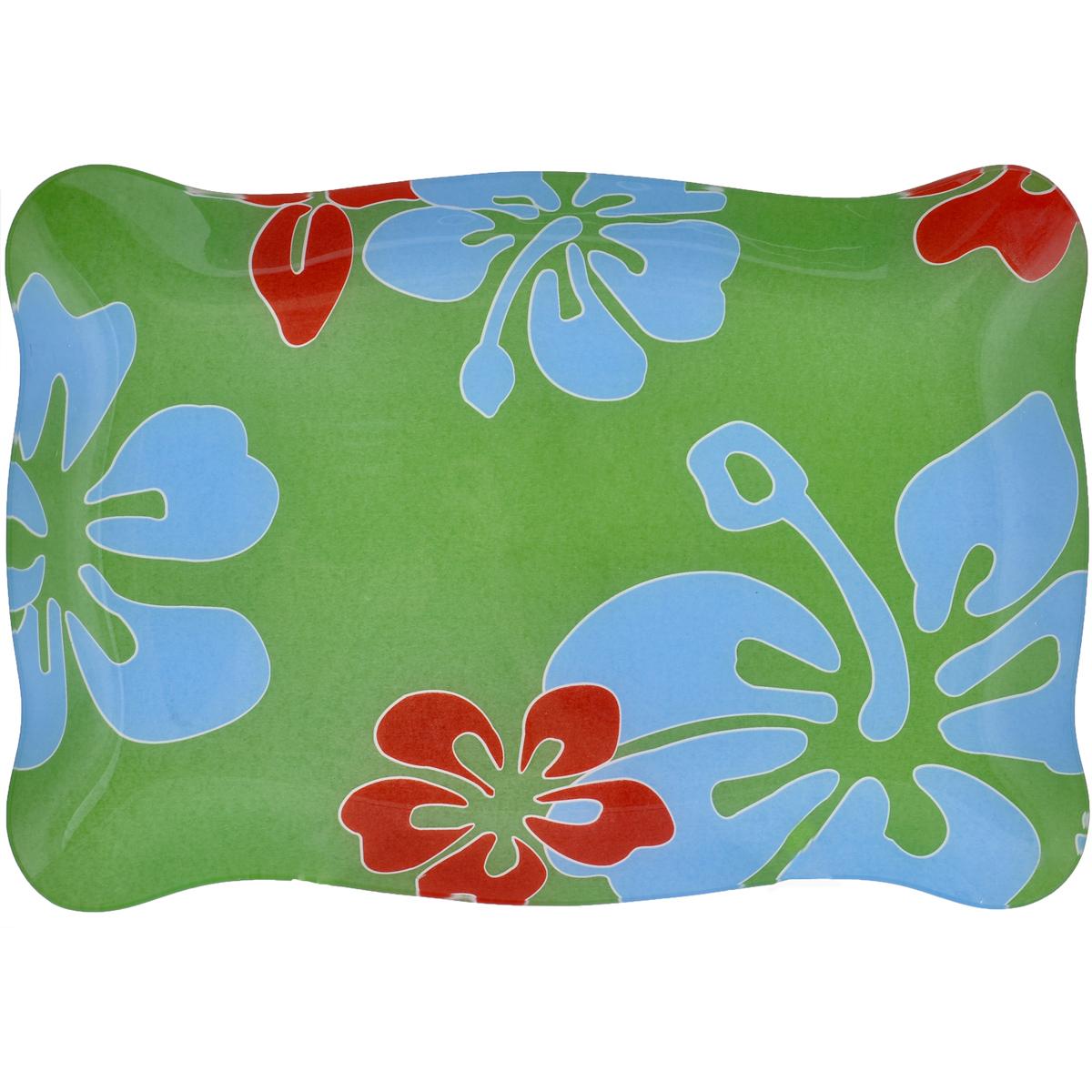 Тарелка House & Holder, цвет: зеленый, 34 х 23 х 2,5 смVB-2Прямоугольная тарелка House & Holder выполнена из прочного стекла и оформлена красочным изображением цветов. Изделие предназначено для красивой сервировки стола. Тарелка House & Holder станет ярким украшением стола. Размер: 34 см х 23 см х 2,5 см.
