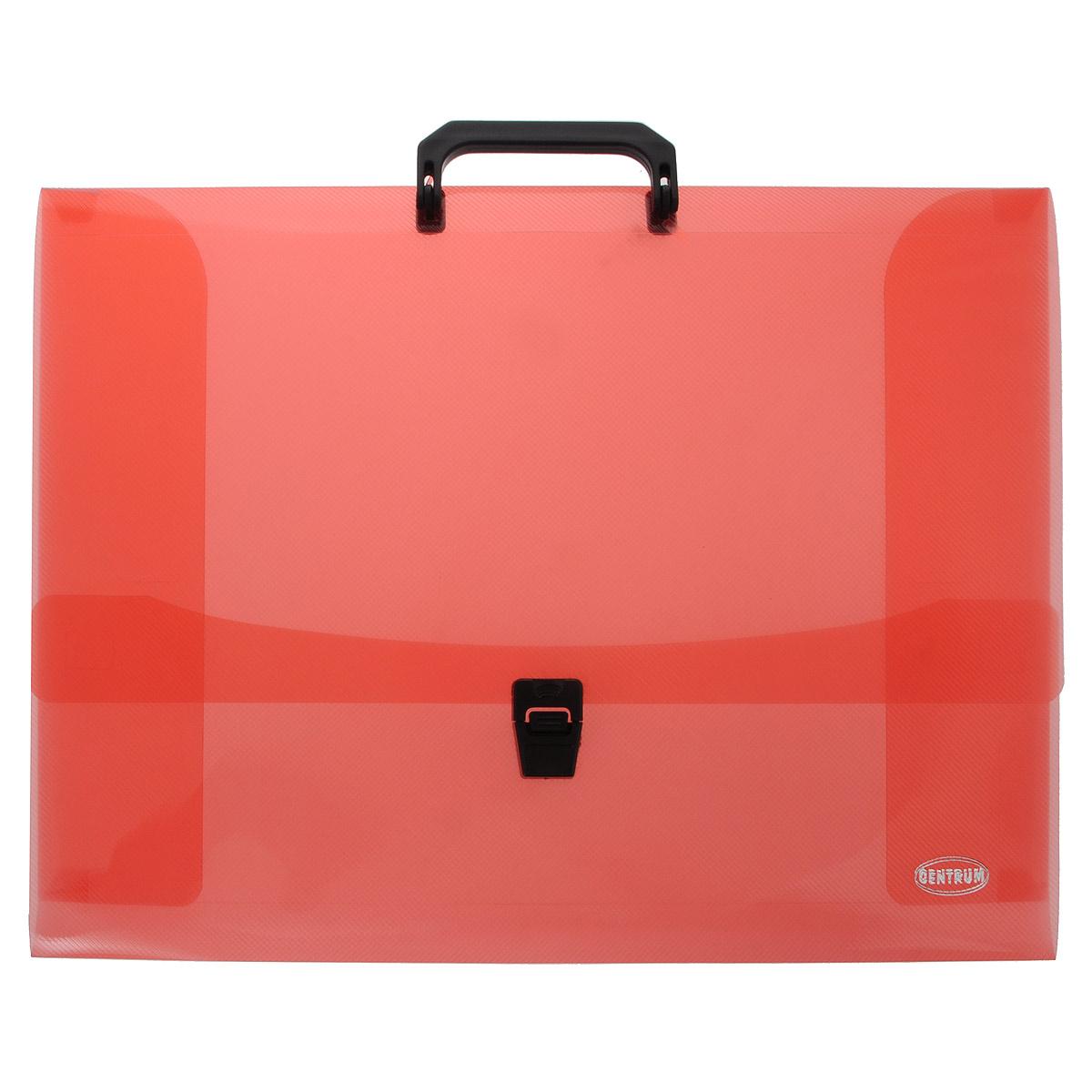 Папка-портфель Centrum, с ручкой, цвет: красный. Формат А380652 красныйПапка-портфель Centrum станет вашим верным помощником дома и в офисе. Это удобный и функциональный инструмент, предназначенный для хранения и транспортировки больших объемов рабочих бумаг и документов формата А3. Папка изготовлена из износостойкого полупрозрачного высококачественного пластика и закрывается на широкий клапан с замком. Состоит одного вместительных отделений. Папка оформлена оригинальным тиснением. Папка имеет удобную ручку для переноски. Папка - это незаменимый атрибут для любого студента, школьника или офисного работника. Такая папка надежно сохранит ваши бумаги и сбережет их от повреждений, пыли и влаги.