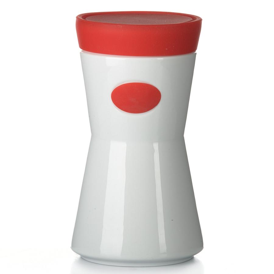 Банка для сыпучих продуктов House & Holder, цвет: красный, 1,2 л. 7D5067D506Банка для сыпучих продуктов House & Holder изготовлена из высококачественной керамики. Емкость оснащена плотно закрывающейся цветной силиконовой крышкой, которая предохраняет продукты от влаги и сохраняет их свежими. Изделие прекрасно подходит для хранения макарон, круп, специй, сахара, чая, кофе и других продуктов. Такая емкость станет полезным и функциональным предметом на каждой кухне. Диаметр основания: 12 см. Высота: 21 см.