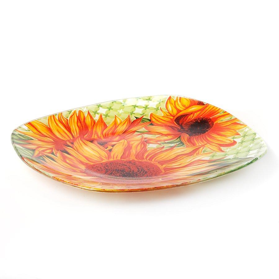 Тарелка House & Holder Подсолнухи, цвет: оранжевый, зеленый, 25 х 25 смS350010DF161Квадратная тарелка House & Holder Подсолнухи выполненная из высококачественного стекла, оформлена красочным изображением подсолнухов. Изделие предназначено для красивой сервировки стола. Тарелка House & Holder Подсолнухи станет ярким украшением стола. Размер тарелки: 25 см х 25 см. Высота тарелки: 1,6 см.