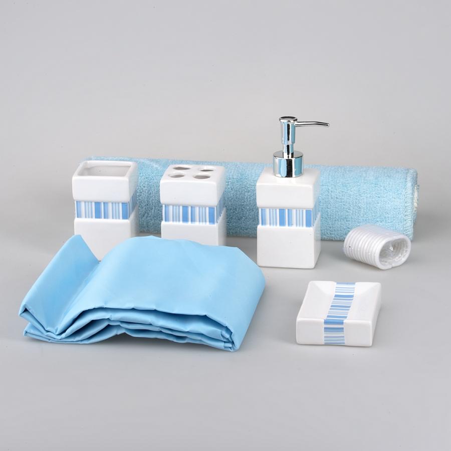 Н-р для ванной:(держатель д/щеток,стакан,дозатор д/жидкого мыла,мыльница,коврик д/ванной,штора)в подар.уп.SWYS026Набор для ванной комнаты 6 пр.
