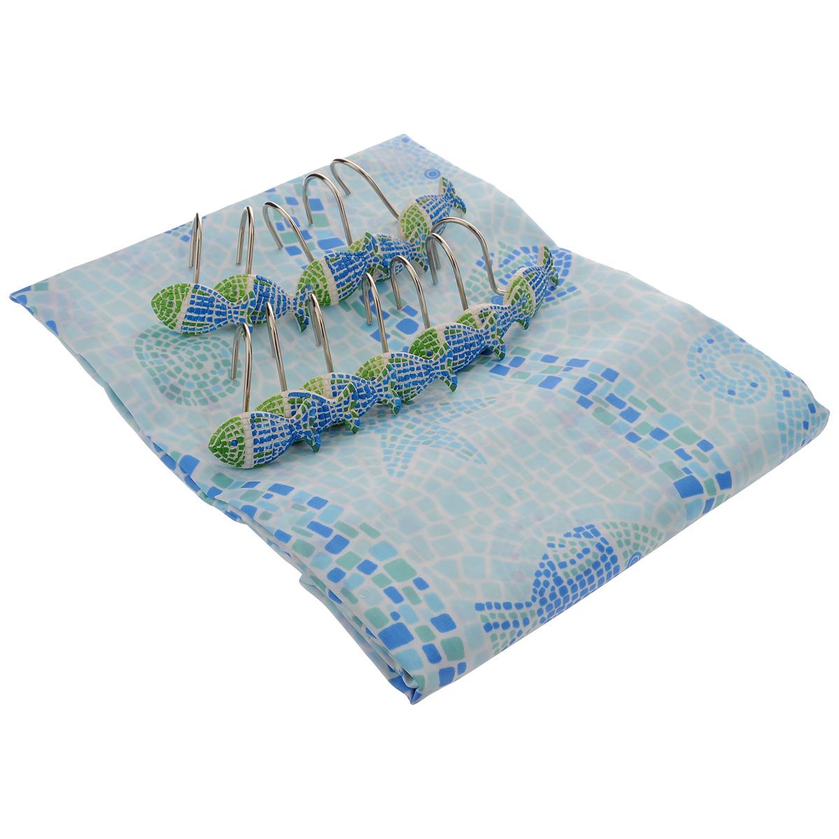 Штора для ванной комнаты House & Holder, цвет: голубой, 180 х 180 см SWYS063SWYS063Штора для ванной комнаты House & Holder изготовлена из полимера с водоотталкивающим покрытием, оформлена изображением морских животных. Такая штора легко стирается и быстро сохнет. В ее верхней кромке предусмотрены отверстия для крючков. Крючки, выполненные из металла, декорированы фигурками объемных рыбок. Количество крючков: 12 шт.