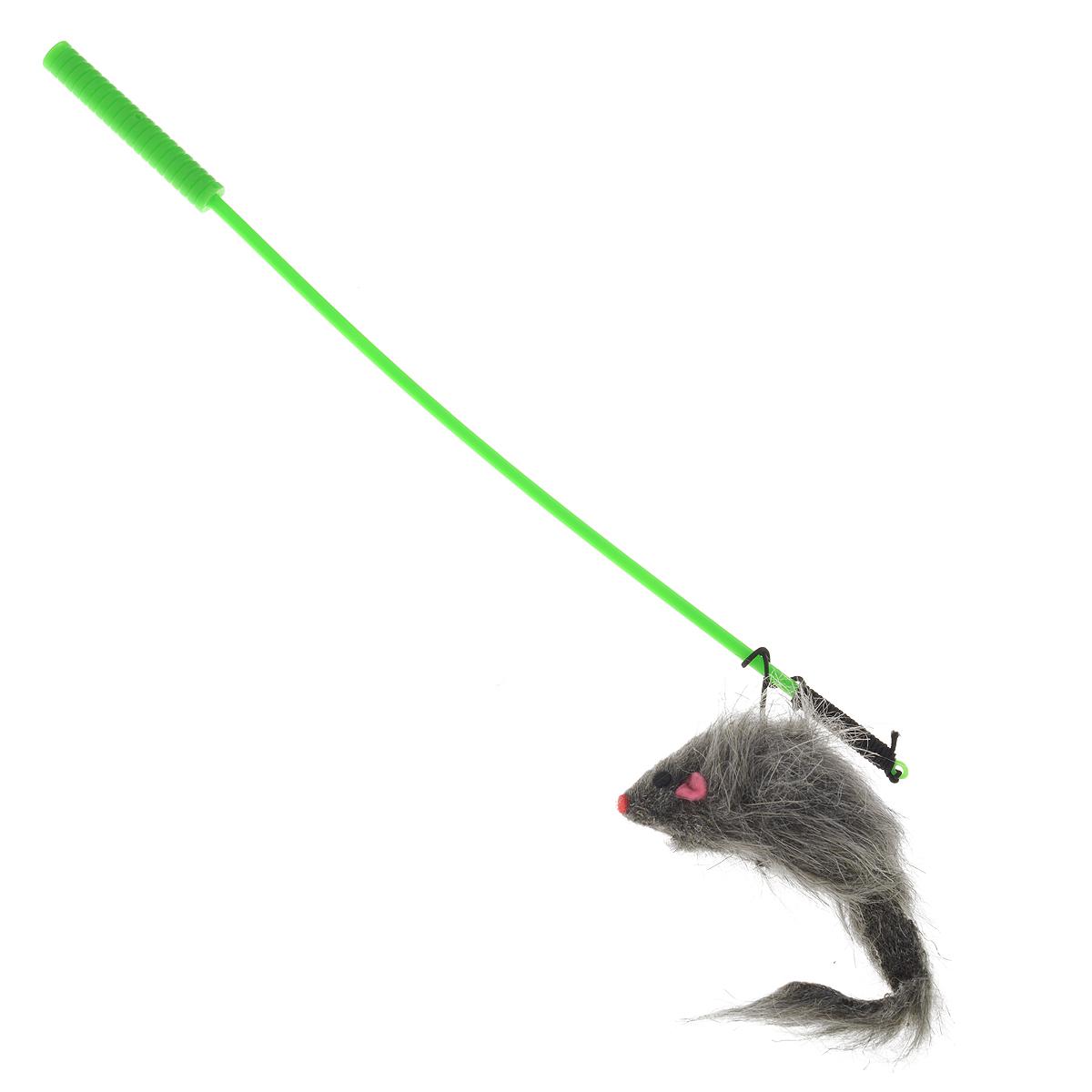 Игрушка для кошек V.I.Pet Дразнилка-удочка с мышью, цвет: серый, зеленыйST-108Игрушка для кошек V.I.Pet Дразнилка-удочка с мышью, изготовленная из текстиля и пластика, прекрасно подойдет для веселых игр вашего пушистого любимца. Играя с этой забавной дразнилкой, маленькие котята развиваются физически, а взрослые кошки и коты поддерживают свой мышечный тонус. Яркая игрушка на конце удочки сразу привлечет внимание вашего любимца, не навредит здоровью, и увлечет его на долгое время. Длина удочки: 37 см. Размер игрушки: 10 см х 4 см х 3 см.