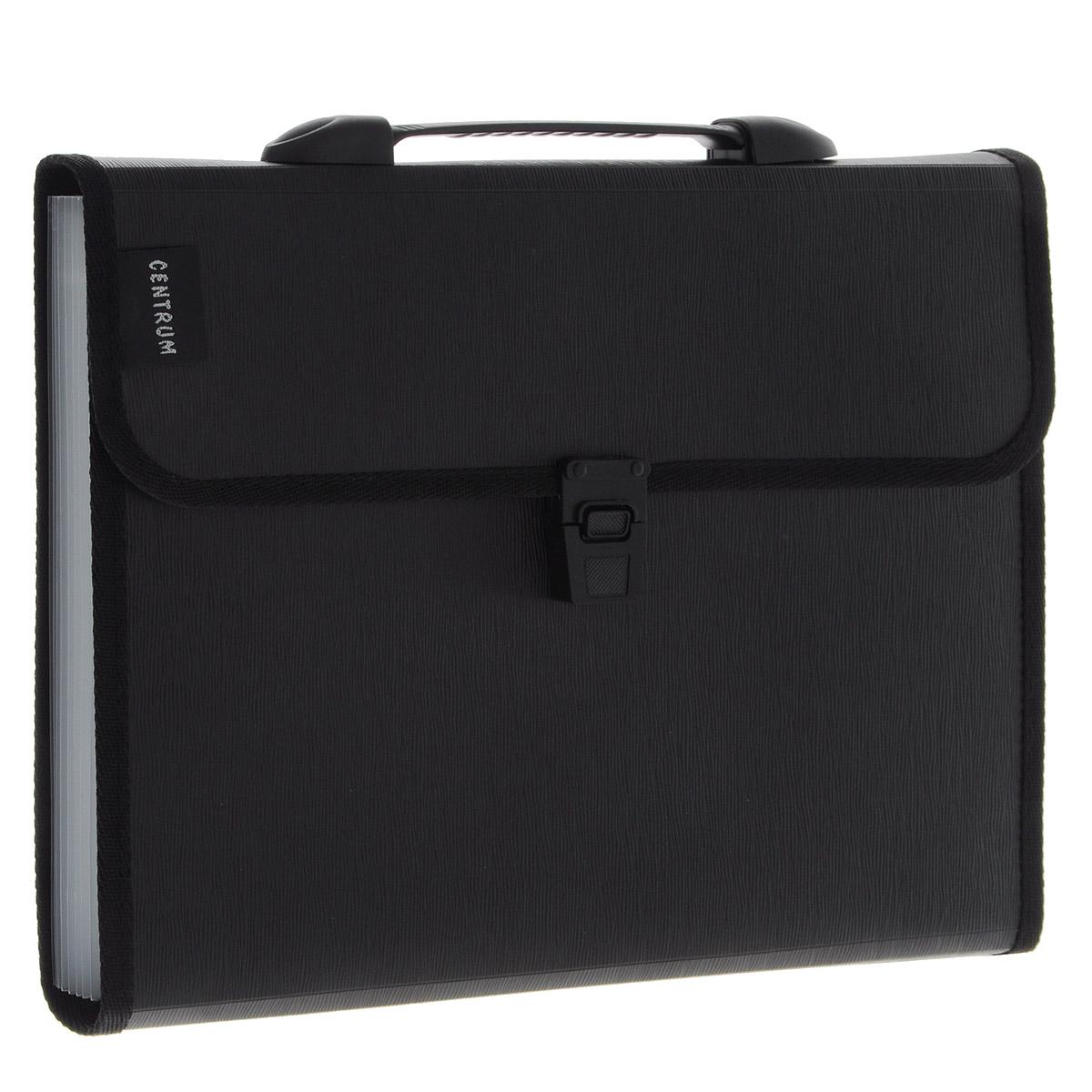 Centrum Папка-портфель с ручкой цвет черный 13 отделений 82261 черный