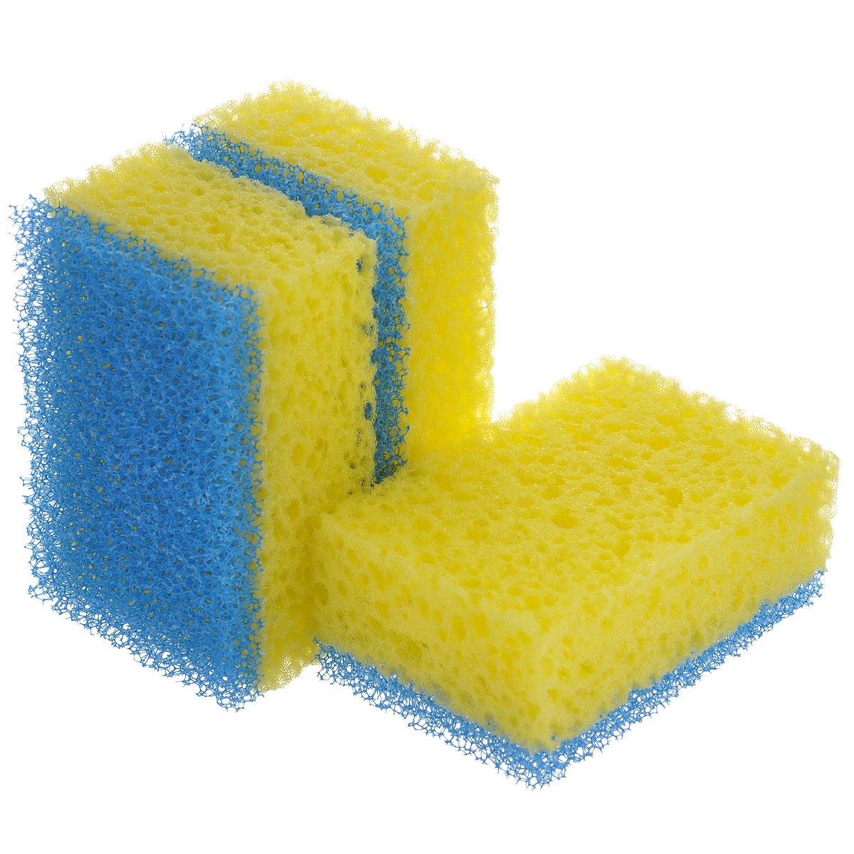 Губки для посуды La Chista Люкс, цвет: желтый, синий, 3 шт870147Губки для посуды La Chista Люкс идеально справляются с любыми загрязнениями даже без моющего средства. Выполнены из мягкого поролона и абразивного материала. Особенности: Изготовлены из экологически чистого сырья. Не содержат фреонов и метилгидрохлорида. Высокая плотность поролона экономит моющее средство. Особо прочные абразивные материалы.