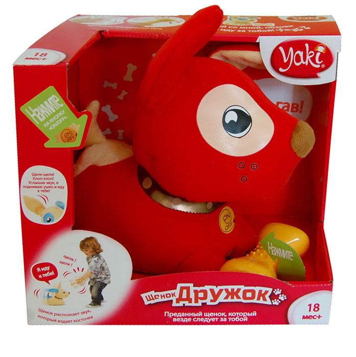 Интерактивная игрушка Yaki Щенок Дружок, цвет: красный103Интерактивная игрушка Yaki Щенок Дружок понравится вашему ребенку и не позволит ему скучать! Игрушка представляет собой мягконабивного забавного щенка на колесах. В игрушку встроены различные датчики и механизм, благодаря чему она может двигаться, разговаривать, петь и воспроизводить различные звуки. Если потрясти косточкой, можно услышать звук Щелк-щелк, а питомец тут же поднимет ухо. Щенок при нажатии на кнопку воспроизводит детскую песню и более 20 фраз и звуковых эффектов. Игрушка Yaki Щенок Дружок поможет ребенку в развитии цветового и звукового восприятия, двигательных навыков, воображения и любознательности. Рекомендуется докупить 4 батарейки напряжением 1,5V типа АА/LR03 (товар комплектуется демонстрационными).