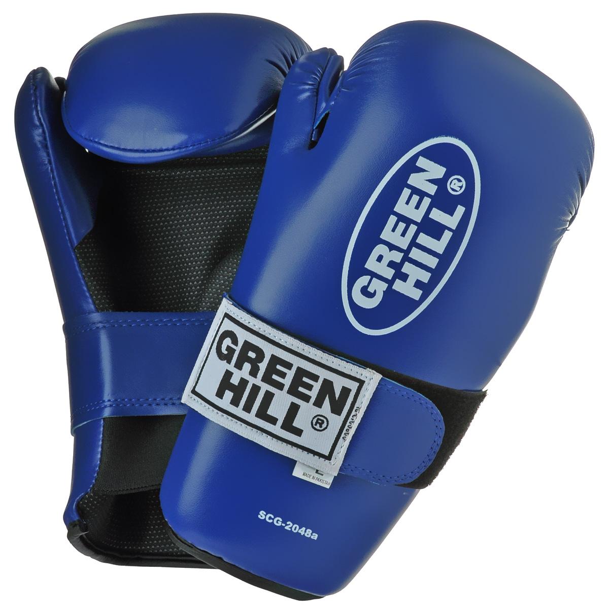 Перчатки для контактных единоборств Green Hill 7-contact, цвет: синий. Размер LSCG-2048cНакладки Green Hill 7-contact для контактных видов единоборств семиконтакт. Идеально подходят для обучения, спаррингов и соревнований. Перчатки выполнены из высококачественной. Широкий ремень, охватывая запястье, полностью оборачивается вокруг манжеты, благодаря чему создается дополнительная защита лучезапястного сустава от травмирования. Застежка на липучке способствует быстрому и удобному одеванию перчаток, плотно фиксирует перчатки на руке.