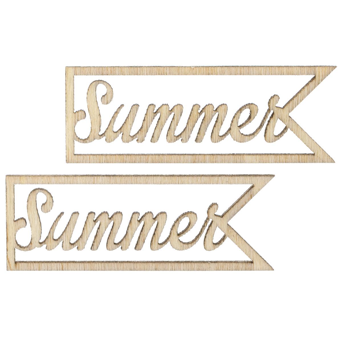 Вырубки из дерева ScrapBerrys Summer, 2 штSCB4400157Лазерные вырубки из дерева ScrapBerrys Summer прекрасно подойдут для оформления творческих работ в технике скрапбукинг. Их можно использовать для украшения фотоальбомов, скрап-страничек, подарков, конвертов, фоторамок, открыток. Набор состоит из 2 элементов с надписью summer. Скрапбукинг - это хобби, которое способно приносить массу приятных эмоций не только человеку, который этим занимается, но и его близким, друзьям, родным. Это невероятно увлекательное занятие, которое поможет вам сохранить наиболее памятные и яркие моменты вашей жизни, а также интересно оформить интерьер дома. Комплектация: 2 шт. Размер элемента: 4,7 см х 1,7 см.