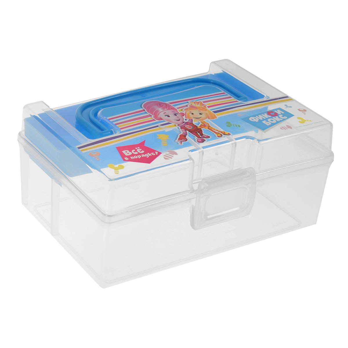 Контейнер для мелочей Фиксики, с вкладышем, цвет: прозрачный, голубой, 800 млС30922Контейнер Фиксики выполнен из высококачественного прозрачного пластика. Для удобства переноски сверху имеется ручка. Контейнер декорирован изображением героев одноименного мультика Фиксики. Внутрь вставляется вкладыш с одним отделением. Контейнер плотно закрывается крышкой с защелкой. Контейнер Фиксики очень вместителен и поможет вам хранить все необходимые мелочи в одном месте. Размер контейнера: 16,5 см х 10 см х 7,5 см. Размер вкладыша: 16 см х 4 см х 2 см.