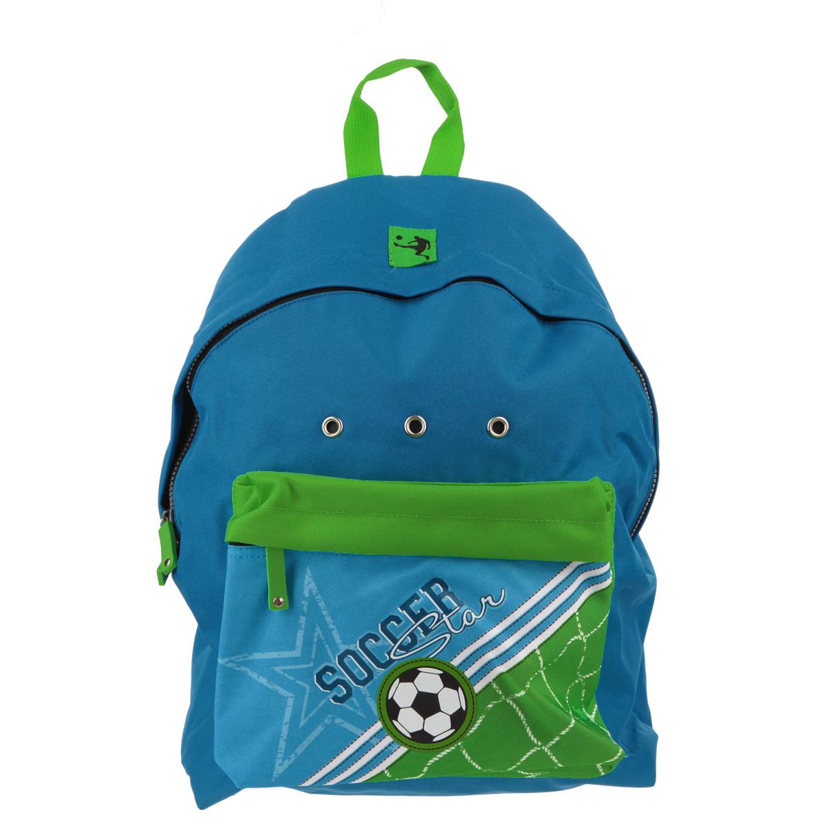 Рюкзак Erich Krause Soccer, цвет: синий, зеленый37172Рюкзак Erich Krause Soccer легкий, компактный выполнен из водонепроницаемого материла и дополнен изображением в виде футбольного мяча. Содержит одно вместительное отделение, закрывающееся на пластиковый замок-молнию с двумя бегунками. Внутри отделения расположен нашивной карман, на котором находятся открытый кармашек, карман-сетка на молнии и два фиксатора для канцелярских принадлежностей. Лицевая сторона рюкзака оснащена фронтальным карманом на застежке-молнии. Мягкие лямки позволяют легко и быстро отрегулировать рюкзак в соответствии с ростом. Рюкзак оснащен удобной текстильной ручкой для переноски в руке. Этот рюкзак можно использовать для повседневных прогулок, отдыха и спорта, а также как элемент вашего имиджа.