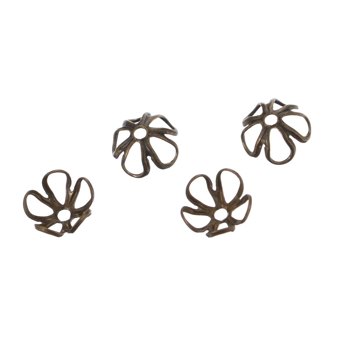 Шапочка для бусин Vintaj Цветочек, диаметр 6 мм, 4 штBC80RRНабор Vintaj Цветочек, изготовленный из металла, состоит из 4 шапочек для бусин. Набор позволит вам своими руками создать оригинальные ожерелья, бусы или браслеты. Шапочки обрамляют бусины и придают законченный красивый вид изделию. Их можно крепить как с одной, так и с обеих сторон бусины. Это прекрасная фурнитура для создания бижутерии. Изготовление украшений - занимательное хобби и реализация творческих способностей рукодельницы, это возможность создания неповторимого индивидуального подарка. Диаметр шапочки: 6 мм.