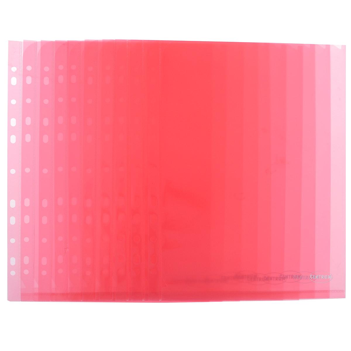 Папка-уголок Centrum, с перфорацией, цвет: красный. Формат А4, 10 шт80633 красныйПапка-уголок Centrum, с перфорацией - это удобный и функциональный офисный инструмент, предназначенный для хранения и транспортировки рабочих бумаг и документов формата А4. Папка изготовлена из полупрозрачного, прочного пластика, имеет перфорацию. В комплект входят 10 папок формата A4. Папка-уголок - это незаменимый атрибут для студента, школьника, офисного работника. Такая папка надежно сохранит ваши документы и сбережет их от повреждений, пыли и влаги.