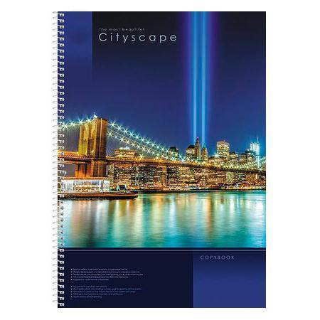 Тетрадь 100 л А 4 ф обложка с карманом клетка на спирали CityScape