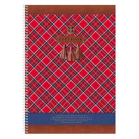 Тетрадь 100л А4ф обложка с карманом клетка на спирали Шотландка100Ткм4B1сп_13050