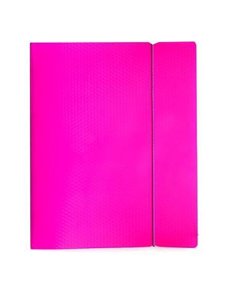 Тетрадь 120л А5ф на 4 х кольцах Пластиковая обложка на резинке DIAMOND НЕОН розовая120ТК5Bр1_02033