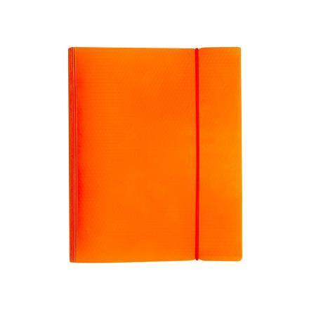 Тетрадь 120л А5ф на 4 х кольцах Пластиковая обложка на резинке DIAMOND НЕОН оранжевая120ТК5Bр1_02035