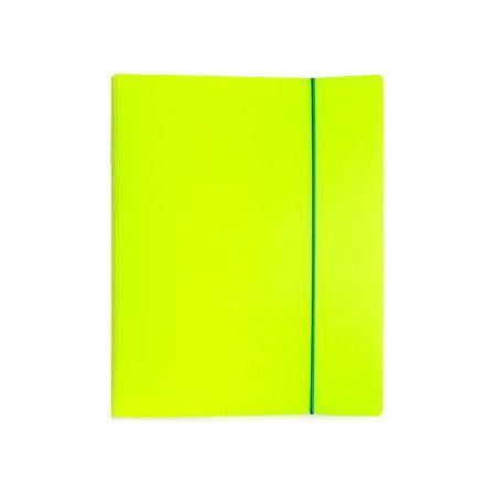 Тетрадь 120л А5ф на 4 х кольцах Пластиковая обложка на резинке DIAMOND НЕОН желтая120ТК5Bр1_02037
