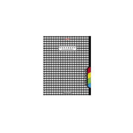 Тетрадь 120л А5ф на гребне 3 цв. разделителя перфорация на отрыв Шотландка120Тр5В1гр_06621