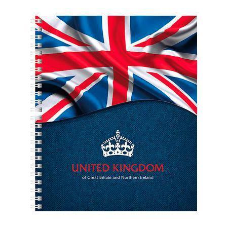Тетрадь с твердой обложкой 120л А5ф 4 х цв. блок клетка на гребне Британский флаг120Тт5B1гр_12112