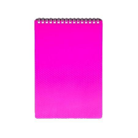Блокнот 80л А5ф Пластиковая обложка на гребне DIAMOND НЕОН розовый