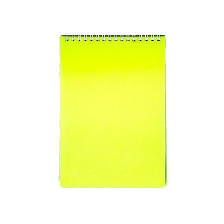 Блокнот 80л А5ф Пластиковая обложка на гребне DIAMOND НЕОН желтый