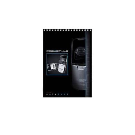 Блокнот 60л А5ф жесткая подложка клетка на спирали серия Мобильный телефон60Б5B1спБлокнот с обложкой из картона, защищающей бумагу от деформации.