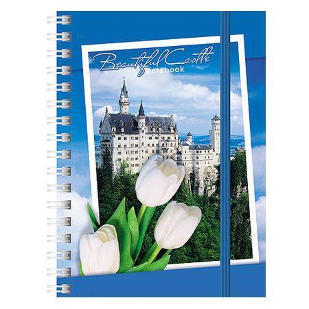 Записная книжка 120л А6ф клетка на гребне на резинке серия Романтика