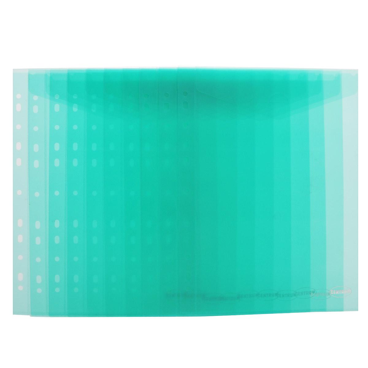 Папка-конверт Centrum, вертикальная, с перфорацией, цвет: зеленый. Формат А4, 10 шт80630_зеленыйПапка-конверт Centrum, вертикальная, с перфорацией - это удобный и функциональный офисный инструмент, предназначенный для хранения и транспортировки рабочих бумаг и документов формата А4. Папка изготовлена из полупрозрачного глянцевого пластика, имеет перфорацию. Закрывается с помощью обычного клапана. В комплект входят 10 папок формата A4. Папка-конверт - это незаменимый атрибут для студента, школьника, офисного работника. Такая папка надежно сохранит ваши документы и сбережет их от повреждений, пыли и влаги.
