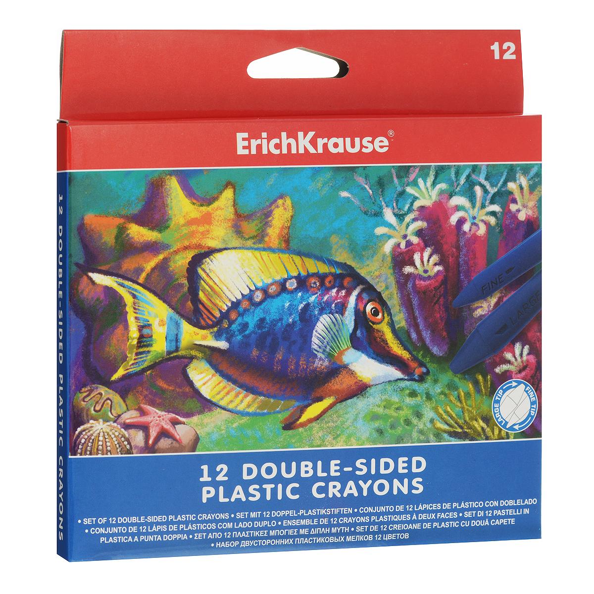 Двусторонние мелки Erich Krause, 12 цветов34928Двусторонние мелки Erich Krause помогут вашему маленькому художнику раскрыть свой талант. В набор входят 12 цветных мелков (желтый, оранжевый, розовый, красный, коричневый, салатовый, зеленый, голубой, синий, светло-фиолетовый, фиолетовый, черный). Мелками очень удобно пользоваться: с одной стороны имеется широкий наконечник для быстрого раскрашивания, а с другой - узкий наконечник для тонких линий. Их не нужно точить, кроме того, они водоустойчивы. Мелки помогут малышу развить мелкую моторику рук, координацию движений, цветовое восприятие, воображение и творческое мышление.