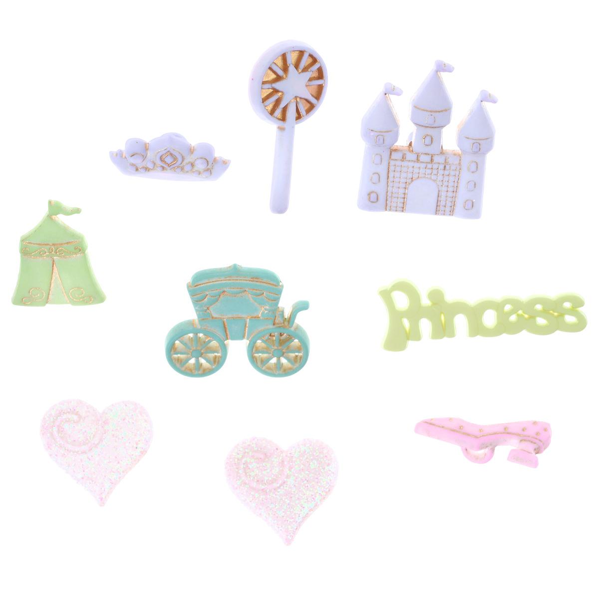 Пуговицы декоративные Buttons Galore & More Принцесса, 9 шт7708802Набор Buttons Galore & More Принцесса состоит из 8 декоративных пуговиц на ножке и одного декоративного элемента, который можно приклеить. Все элементы выполнены из пластика в форме разнообразных фигур. Такие пуговицы подходят для любых видов творчества: скрапбукинга, декорирования, шитья, изготовления кукол, а также для оформления одежды. С их помощью вы сможете украсить открытку, фотографию, альбом, подарок и другие предметы ручной работы. Пуговицы разных цветов имеют оригинальный и яркий дизайн. Средний размер элемента: 2 см х 2 см х 0,3 см.