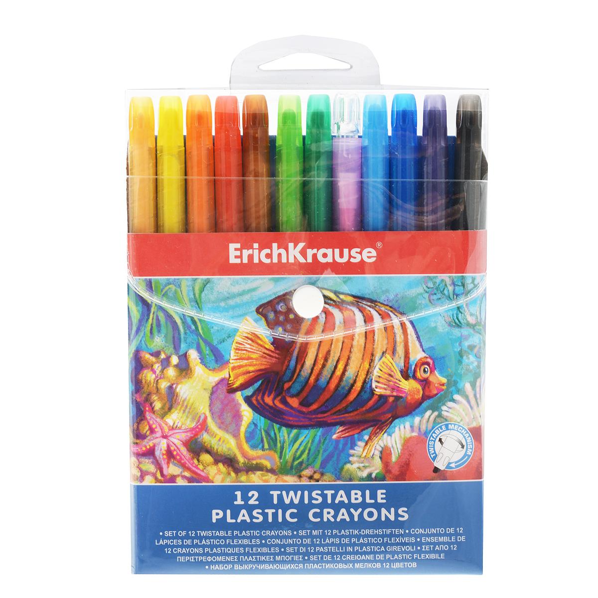 Выкручивающиеся мелки Erich Krause, 12 цветов34932Выкручивающиеся мелки Erich Krause помогут вашему маленькому художнику раскрыть свой талант. В набор входят 12 цветных мелков (персиковый, желтый, оранжевый, красный, розовый, коричневый, салатовый, зеленый, голубой, синий, фиолетовый, черный). Корпус мелков выполнен из высококачественного прочного пластика. Мелки удобны в использовании: необходимо просто повернуть корпус - и можно приступать к рисованию. Их не нужно точить, а еще они устойчивы к ломке. Эти мелки способствуют развитию у ребенка мелкой моторики рук, координации движений, цветовосприятия и творческого мышления.