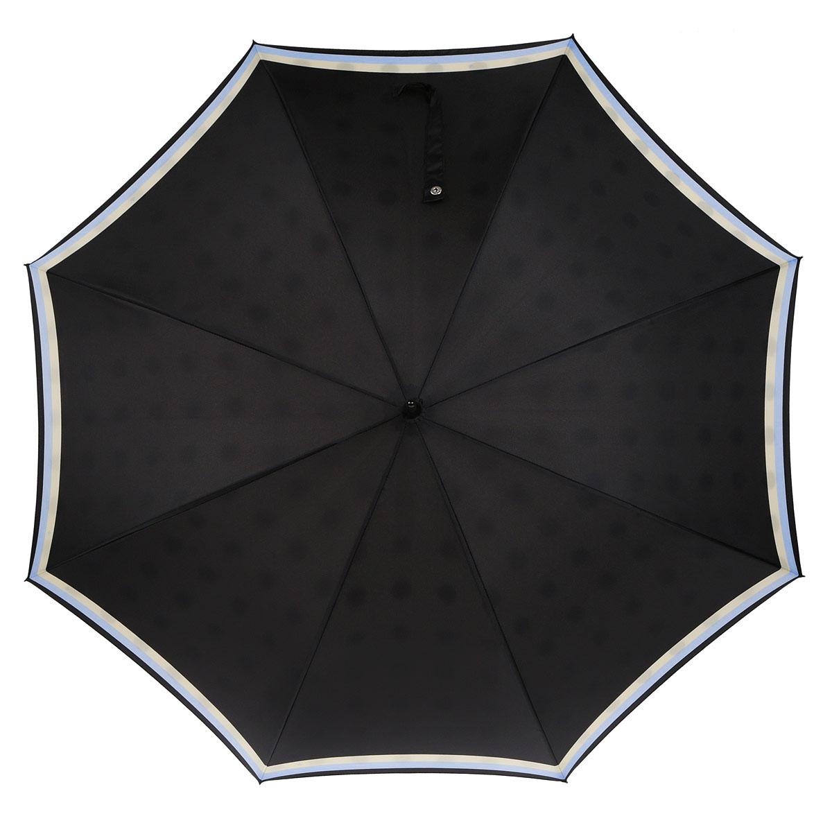 Зонт-трость женский Fulton Bloomsbury-2. Circle Line, автоматический, цвет: черный, голубой, бежевый. L754-2939L754-2939Модный автоматический зонт-трость Bloomsbury-2. Circle Line даже в ненастную погоду позволит вам оставаться стильной и элегантной. Каркас зонта состоит из 8 спиц из фибергласса и металлического стержня. Купол зонта выполнен из прочного полиэстера. Изделие оснащено удобной рукояткой из пластика. Купол зонта-трости с наружи черного цвета с изображением полосок голубого и бежевого цветов по краям. А изнутри купол оформлен в бежевом цвете с крупными черными кругами по всему периметру. Зонт автоматического сложения: купол открывается нажатием на кнопку и закрывается вручную до характерного щелчка. Модель закрывается при помощи одного ремня на кнопку. Такой зонт не только надежно защитит вас от дождя, но и станет стильным аксессуаром, который идеально подчеркнет ваш неповторимый образ.