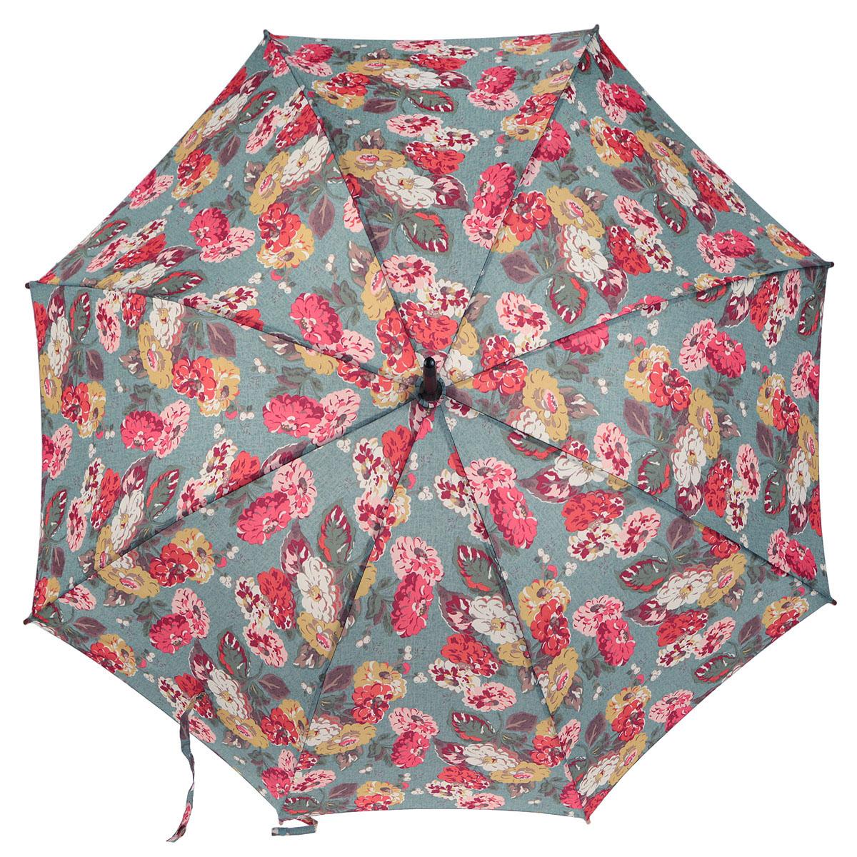 Зонт-трость женский Fulton Cath Kidston Kensington-2. Autumn Bloom Teal, механический, цвет: мультицвет. L541-2847L541-2847Модный механический зонт-трость Cath Kidston Kensington-2. Autumn Bloom Teal даже в ненастную погоду позволит вам оставаться стильной и элегантной. Каркас зонта состоит из 8 спиц фибергласса и деревянного стержня. Купол зонта выполнен из прочного полиэстера и оформлен узором в виде цветов. Изделие оснащено удобной рукояткой из дерева. Зонт механического сложения: купол открывается и закрывается вручную до характерного щелчка. Модель закрывается при помощи одного ремня с липучкой и маленького хлястика с кнопкой. Такой зонт не только надежно защитит вас от дождя, но и станет стильным аксессуаром, который идеально подчеркнет ваш неповторимый образ.