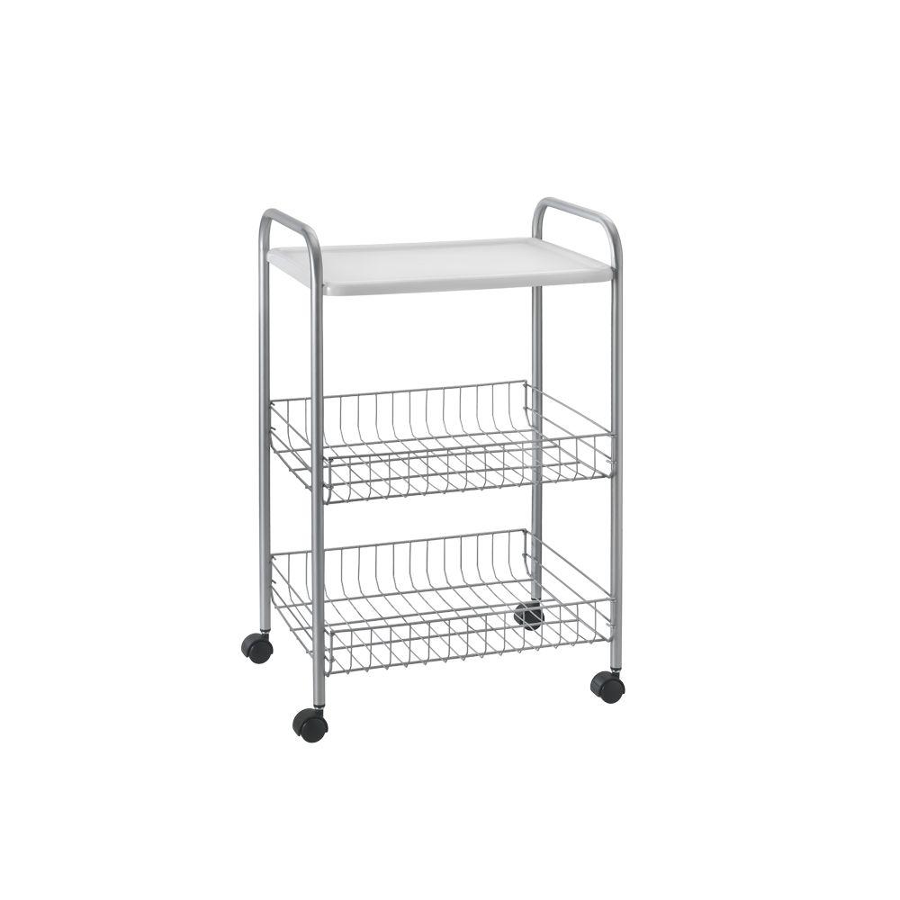 "Этажерка-столик с 2-мя корзинками Metaltex ""Boston"", цвет: серебристый, белый, 39 см х 30 см х 63 см 34.35.02"