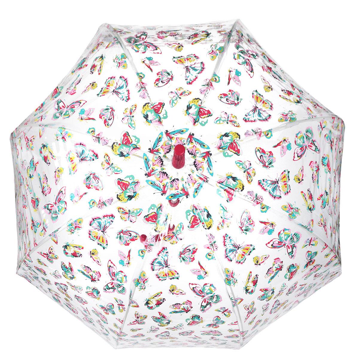 Зонт-трость женский Fulton Cath Kidston Birdcage. Butterflies, механический, цвет: прозрачный, красный, розовый, желтый. L546-2544L546-2544Модный механический зонт-трость Cath Kidston Birdcage. Butterflies. Каркас зонта состоит из 8 спиц фибергласса и пластикового стержня. Купол зонта выполнен из прочного ПВХ и оформлен узором в виде бабочек. Изделие оснащено удобной рукояткой из пластика. Зонт механического сложения: купол открывается и закрывается вручную до характерного щелчка. Модель закрывается при помощи одного ремня с кнопкой. Зонт-трость даже в ненастную погоду позволит вам оставаться стильной и элегантной. Такой зонт не только надежно защитит вас от дождя, но и станет стильным аксессуаром, который идеально подчеркнет ваш неповторимый образ.