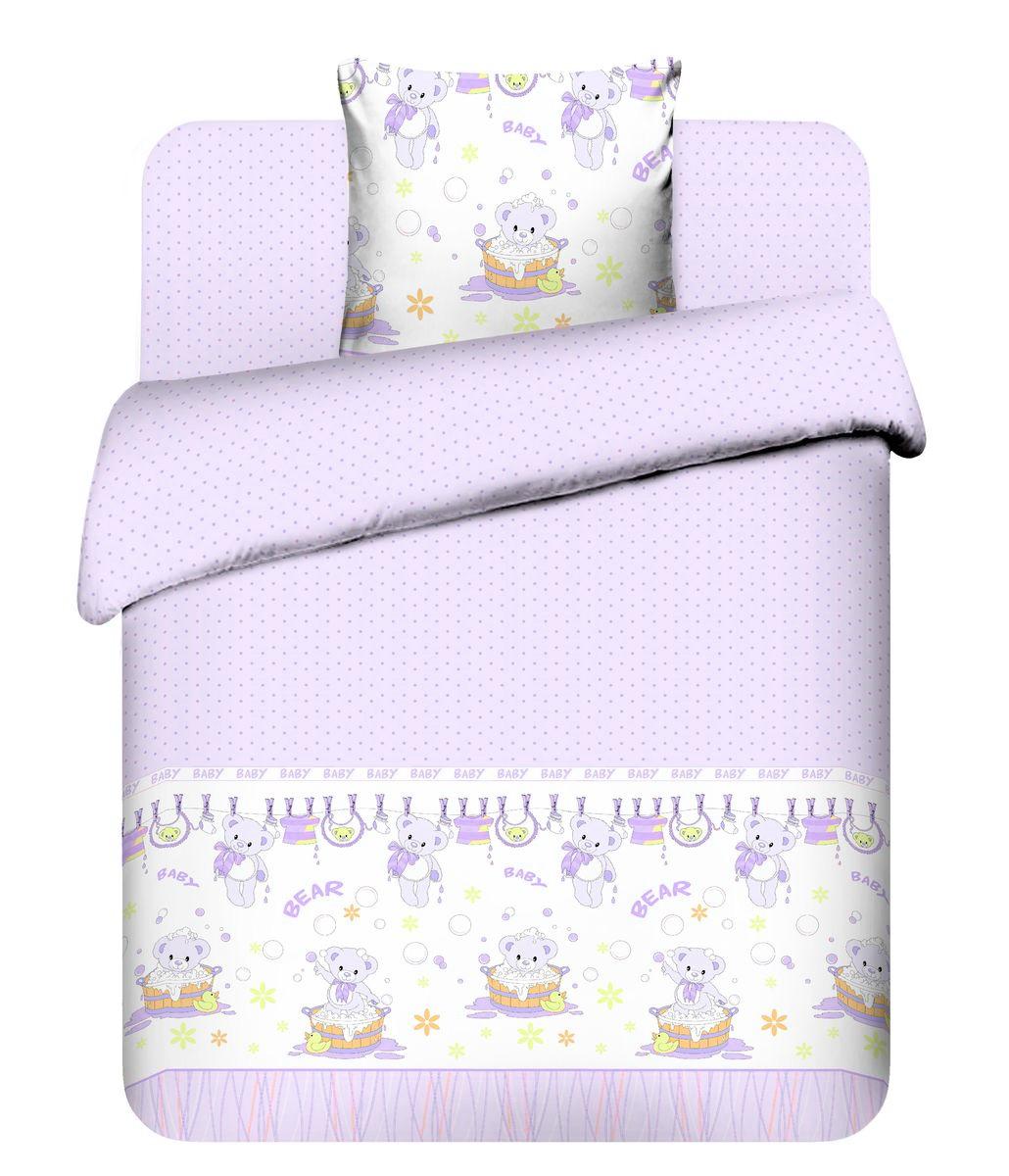 Детское постельное белье Василек Плюшевые мишки (ясельный спальный КПБ, хлопок, наволочка 40х60), цвет: розовый