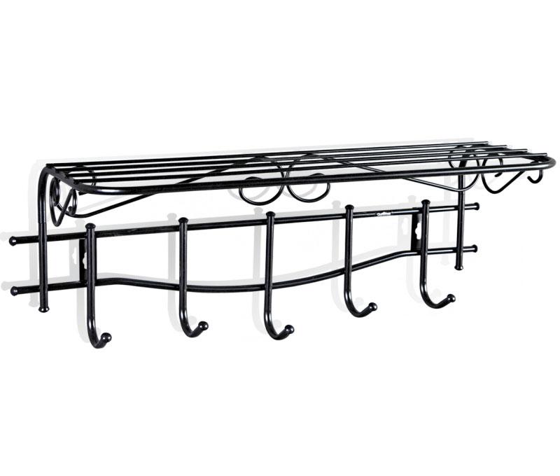 Вешалка настенная Sheffilton Грация 1/5, с полкой, цвет: черный, 68 см х 26 см х 25 смВ2-66Настенная вешалка Sheffilton Грация 1/5, изготовлена из металла с порошковой окраской, стойкой к механическим повреждениям. Такая вешалка - это стильное решение для дома и офиса в экономии пространства. Выразительный внешний вид, выполненный в стиле старинных, ремесленных изделий, впишется в любой современный интерьер. Вешалка имеет 5 крючков, на которые вы сможете повесить одежду, сумку или шарфы. Удобная, большая полка пригодится для хранения летних бейсболок или зимних шапок, перчаток. Максимальная нагрузка на крючок: 5 кг.