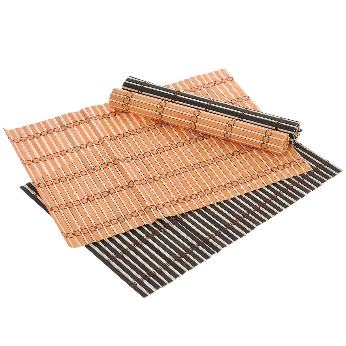 Набор подставок под горячее Dommix, цвет: черный, оранжевый, 30 см х 42 см, 4 шт - DOMMIX - DOMMIXOW046Набор Dommix, состоящий из 4 бамбуковых подставок под горячее, идеально впишется в интерьер современной кухни. Подставки из бамбука не впитывают запахи, легко моются, не деформируются при длительном использовании. Бамбук обладает антибактериальными и водоотталкивающими свойствами. Также имеют высокую прочность. Каждая хозяйка знает, что подставка под горячее - это незаменимый и очень полезный аксессуар на каждой кухне. Ваш стол будет не только украшен оригинальной подставкой, но и сбережен от воздействия высоких температур ваших кулинарных шедевров. Размер подставки: 30 см х 42 см.