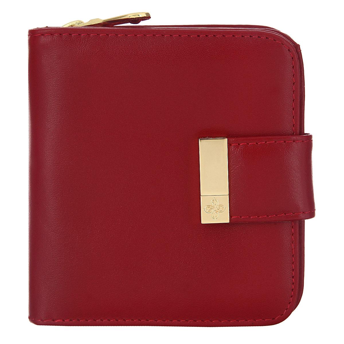 Кошелек Dimanche, цвет красный. 048048Стильный кошелек Dimanche выполнен из натуральной кожи, оформлен металлическим элементом с логотипом бренда. Изделие содержит два отделения. Первое отделение для монет закрывается на молнию. Второе отделение раскладывается, дополнительно закрывается на клапан с магнитной кнопкой. Отделение включает в себя: шесть кармашков для визиток или пластиковых карт, два потайных кармана для документов, два отделения для купюр. Кошелек упакован в подарочную коробку с логотипом фирмы. Такой кошелек станет замечательным подарком человеку, ценящему качественные и практичные вещи.