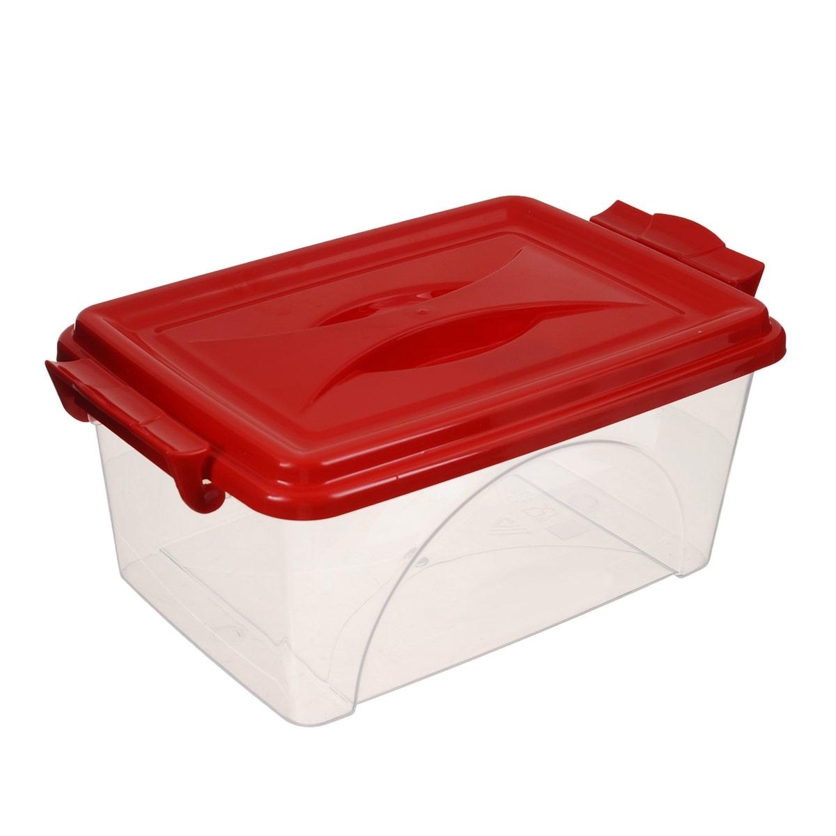 Контейнер Альтернатива, цвет: красный, 2,5 лМ421_красныйКонтейнер Альтернатива выполнен из прочного пластика. Он предназначен для хранения различных мелких вещей. Крышка легко открывается и плотно закрывается. Прозрачные стенки позволяют видеть содержимое. По бокам предусмотрены две удобные ручки, с помощью которых контейнер закрывается. Контейнер поможет хранить все в одном месте, а также защитить вещи от пыли, грязи и влаги. Уважаемые клиенты! Обращаем ваше внимание на то, что цвет ручек товара может меняться в зависимости от прихода на склад.