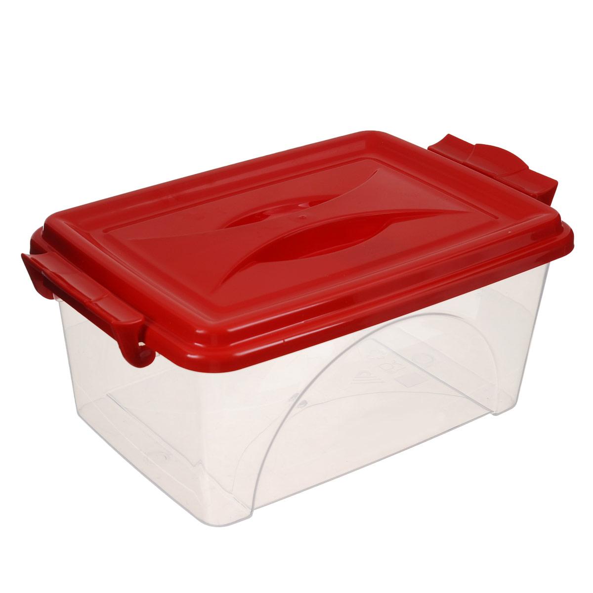 Контейнер Альтернатива, цвет: красный, 30,5 х 20 х 13,5 смМ419_красныйКонтейнер Альтернатива выполнен из прочного пластика. Он предназначен для хранения различных мелких вещей. Крышка легко открывается и плотно закрывается. Прозрачные стенки позволяют видеть содержимое. По бокам предусмотрены две удобные ручки, с помощью которых контейнер закрывается. Контейнер поможет хранить все в одном месте, а также защитить вещи от пыли, грязи и влаги.