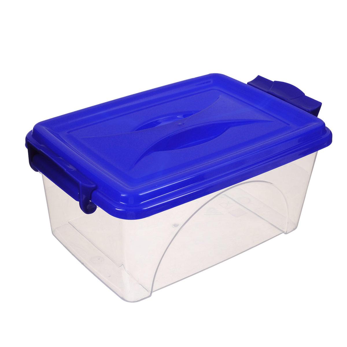Контейнер Альтернатива, цвет: синий, 2,5 лМ421Контейнер Альтернатива выполнен из прочного пластика. Он предназначен для хранения различных мелких вещей. Крышка легко открывается и плотно закрывается. Прозрачные стенки позволяют видеть содержимое. По бокам предусмотрены две удобные ручки, с помощью которых контейнер закрывается. Контейнер поможет хранить все в одном месте, а также защитить вещи от пыли, грязи и влаги.