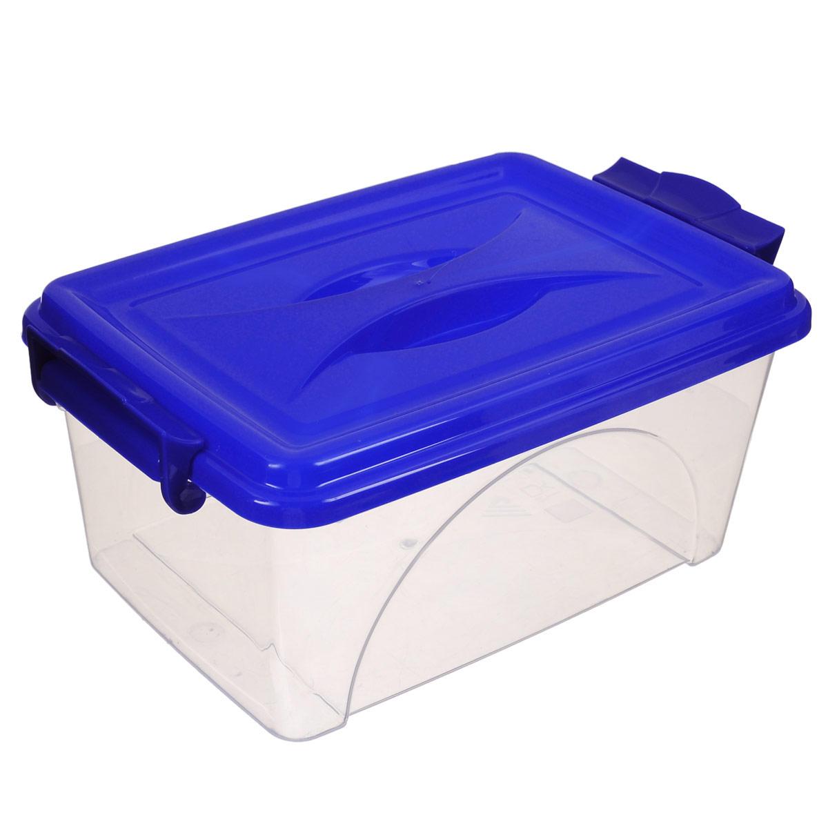 Контейнер Альтернатива, цвет: синий, 30,5 х 20 х 13,5 смМ419_синийКонтейнер Альтернатива выполнен из прочного пластика. Он предназначен для хранения различных мелких вещей. Крышка легко открывается и плотно закрывается. Прозрачные стенки позволяют видеть содержимое. По бокам предусмотрены две удобные ручки, с помощью которых контейнер закрывается. Контейнер поможет хранить все в одном месте, а также защитить вещи от пыли, грязи и влаги.