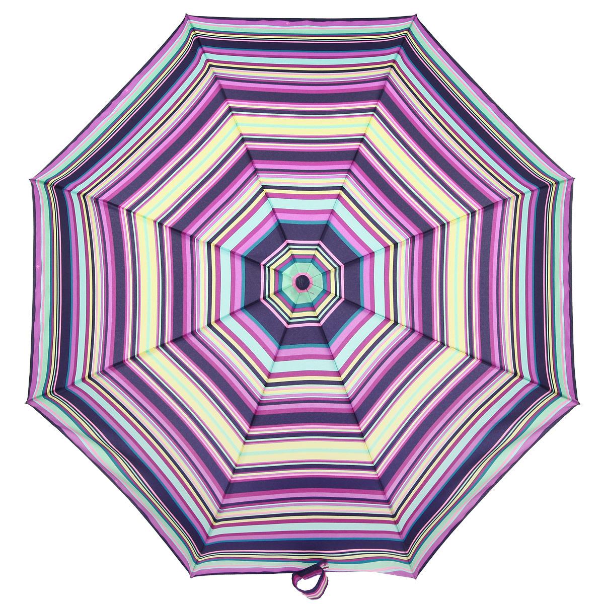 Зонт женский Fulton Vibrant Stripe, автомат, 3 сложения, цвет: желтый, розовый, зеленый, фиолетовый. R346-1149R346-1149Очаровательный автоматический зонт Vibrant Stripe в 3 сложения изготовлен из высокопрочных материалов. Каркас зонта состоит из 8 спиц и прочного алюминиевого стержня. Купол зонта выполнен из прочного полиэстера с водоотталкивающей пропиткой и оформлен принтом в виде разноцветных полос. Рукоятка изготовлена из пластика. Зонт имеет автоматический механизм сложения: купол открывается и закрывается нажатием кнопки на рукоятке, стержень складывается вручную до характерного щелчка, благодаря чему открыть и закрыть зонт можно одной рукой, что чрезвычайно удобно при входе в транспорт или помещение. Небольшой шнурок, расположенный на рукоятке, который позволяет надеть изделие на руку при необходимости. Модель закрывается при помощи хлястика на липучку. К зонту прилагается чехол. Прелестный зонт не только выручит вас в ненастную погоду, но и станет стильным аксессуаром, прекрасно дополнит ваш модный образ.