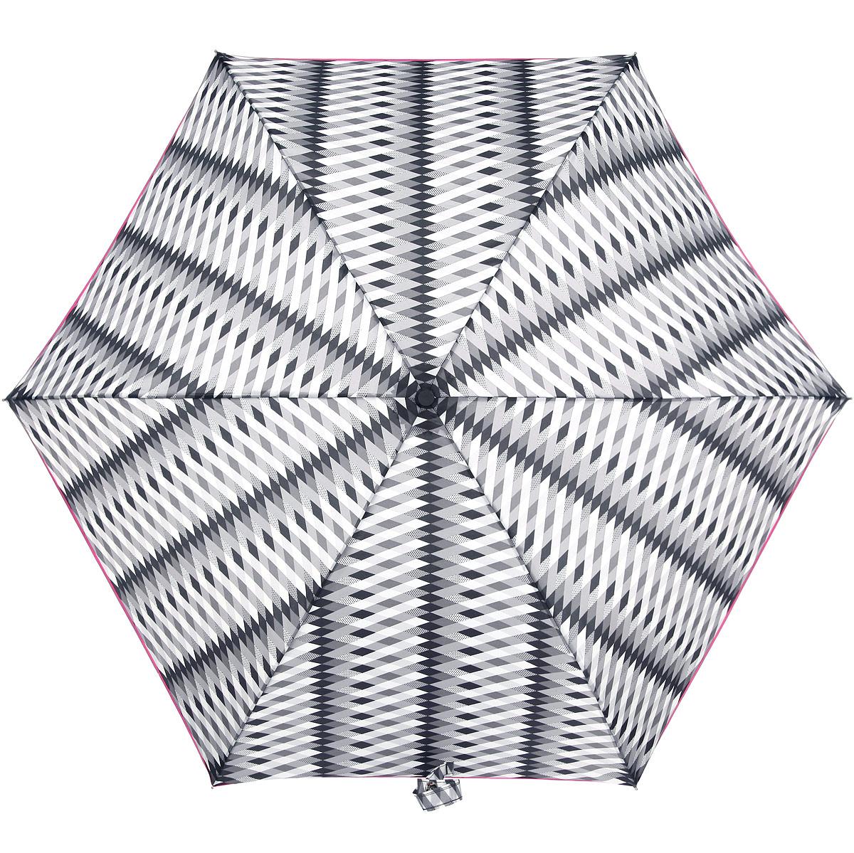Зонт женский Fulton Lulu Guinness Superslim. Monochrome Milan, механический, 3 сложения, цвет: белый, розовый, серый, черный. L718-2958L718-2958Очаровательный механический зонтик Lulu Guinness Superslim. Monochrome Milan в 3 сложения изготовлен из высокопрочных материалов. Каркас зонта состоит из 6 спиц и прочного алюминиевого стержня. Купол зонта выполнен из прочного полиэстера с водоотталкивающей пропиткой и оформлен принтом в виде ромбиков. Рукоятка изготовлена из пластика. Зонт имеет механический механизм сложения: купол открывается и закрывается вручную до характерного щелчка. Модель закрывается при помощи хлястика на кнопку. К зонту прилагается чехол на липучке. Прелестный зонт не только выручит вас в ненастную погоду, но и станет стильным аксессуаром, прекрасно дополнит ваш модный образ.
